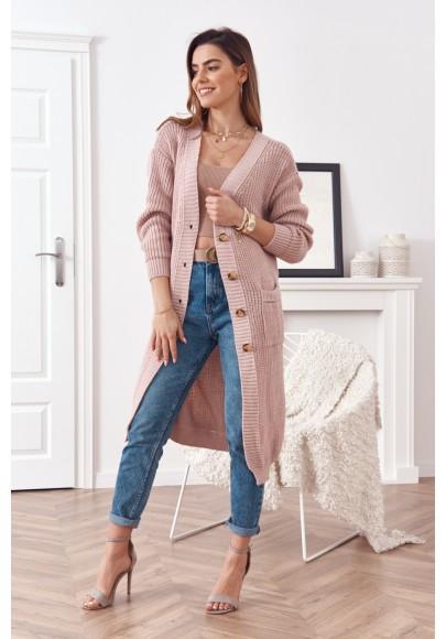 Dlouhý teplý svetr se zapínáním na knoflíky, růžový