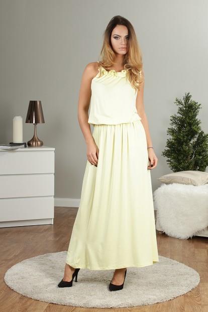 Citrónové dlouhé letní šaty
