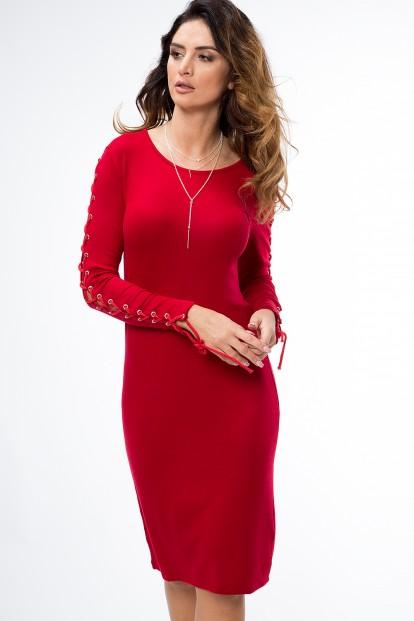 Krátké šaty s dlouhým rukávem s doplněným vázáním 205b2974c4