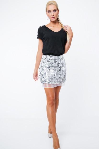 Moderní sukně s flitry a tylem, stříbrná