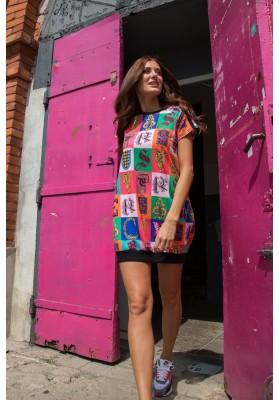 Sukienka bombka w kolorowe wzory czarna 2194