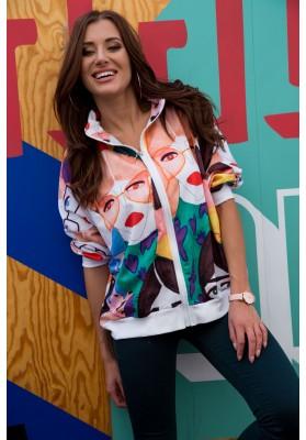 Bluza w kolorowe postacie biała 2241