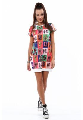 Sukienka bombka w kolorowe wzory biała 2194