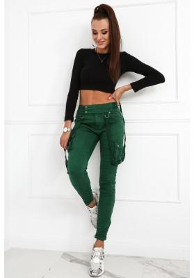 Spodnie damskie bojówki z szelkami ciemnozielone 3100