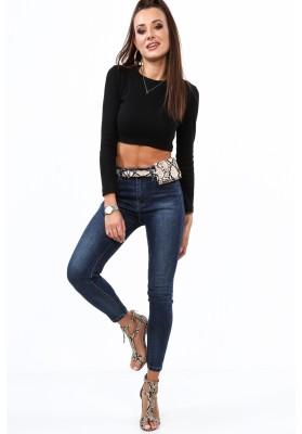 Spodnie damskie z paskiem jeansowe 5250