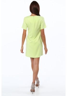 Elegancka sukienka z krótkim rękawem limonkowa 2002