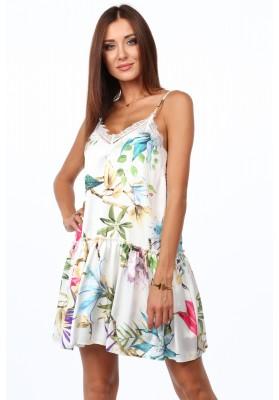 Zwiewna sukienka w kwiaty kremowo-różowa 10240