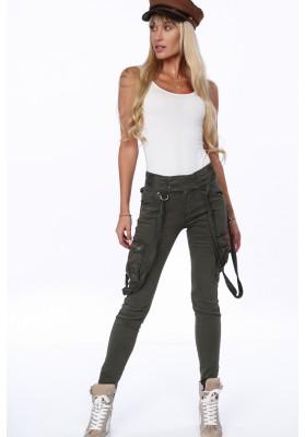 Damskie spodnie bojówki z szelkami khaki 3100