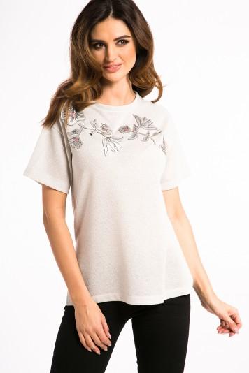 Białe Złoto T-shirt ze Skórzanymi Naszywkami 21047