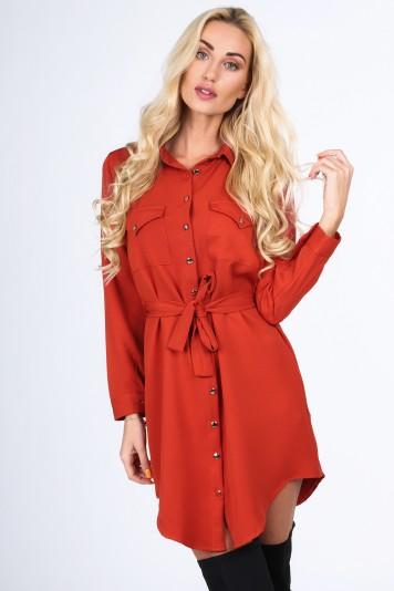 Ruda sukienka koszulowa na co dzień 5065