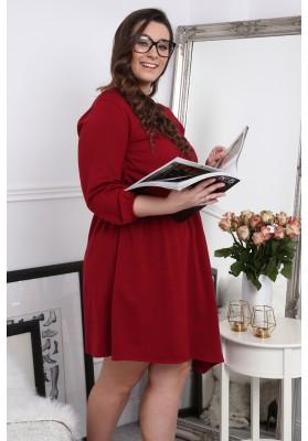 Sukienka asymetryczna w dużych rozmiarach bordowa B08