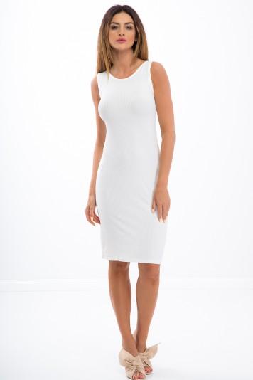Kremowa sukienka na grubych ramiączkach 3555