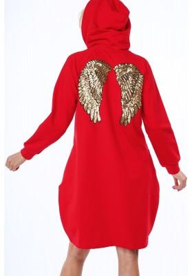 Długa bluza z kapturem czerwona 22980