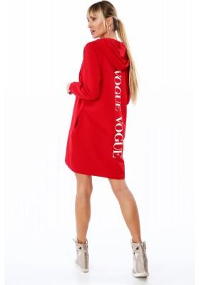 Długa bluza damska z napisem z tyłu czerwona 2283