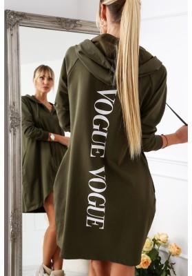 Długa bluza damska z napisem z tyłu khaki 2283