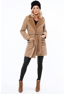 Płaszcz sztruksowy z kożuszkiem beżowy 0338