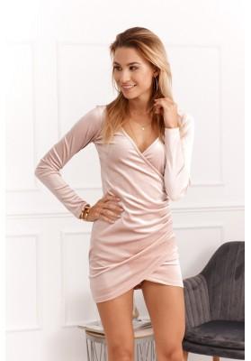 Elegancka sukienka kopetowa na sylwestra pudrowa DD0104