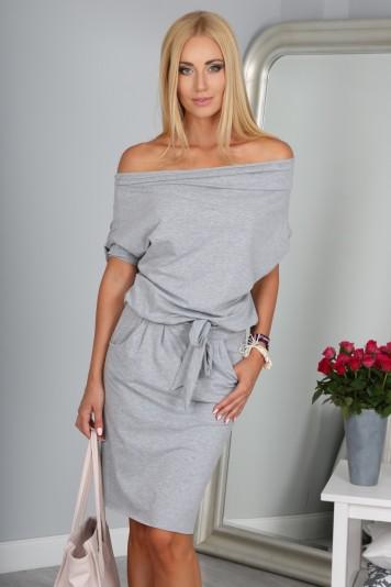 Krásné letní šedé šaty s vázáním kolem pasu