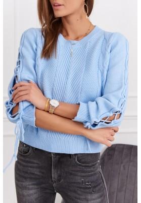 Dámský krátký svetr s dlouhým rukávem, modrý