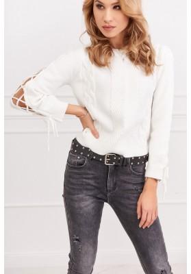 Dámský krátký svetr s dlouhým rukávem, bílý