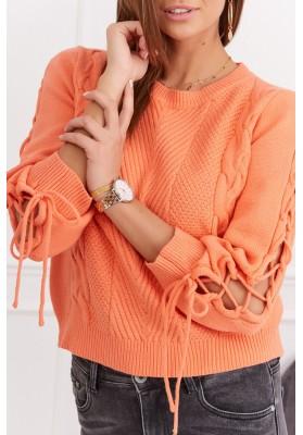 Dámský krátký svetr s dlouhým rukávem, oranžový