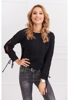 Dámský krátký svetr s dlouhým rukávem, černý