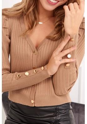 Tenký dámský svetr se zapínáním na knoflíky, světlehnědý