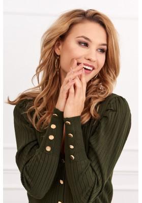 Tenký dámský svetr se zapínáním na knoflíky, zelený