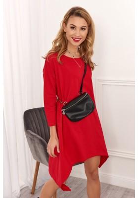 Asymetrické ležérní šaty, červené