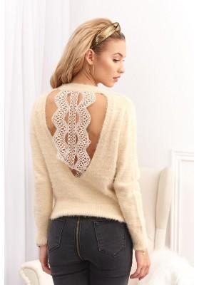 Jedinečný svetr s krajkovým výstřihem na zadní straně