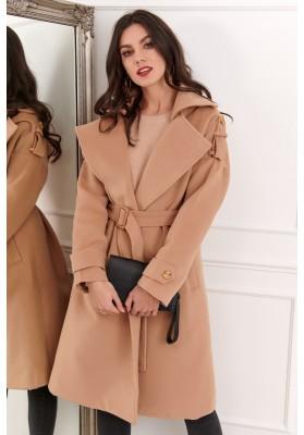 Dlouhý dámský kabát s páskem, béžový