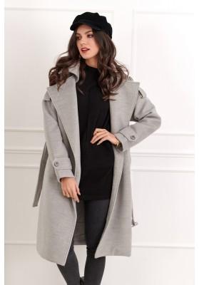 Dlouhý dámský kabát s páskem, šedý