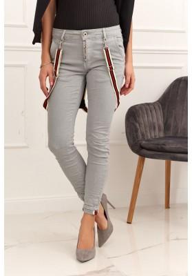 Dámské kalhoty s ozdobnými šlemi, šedé
