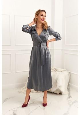 Midi šaty zavinovacího vzhledu s páskem, šedé