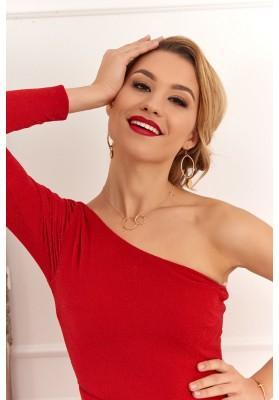 Asymetrické šaty na jedno rameno, červené