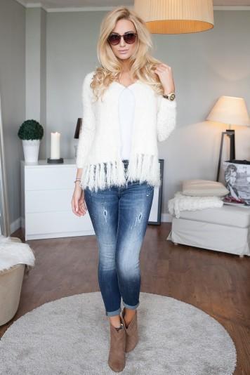 Spodnie jeansowe rurki z przetarciami