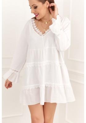 Vzdušné, oversize bílé šaty / tunika s dlouhým rukávem