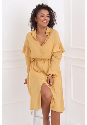 Neformální medové šaty s límcem