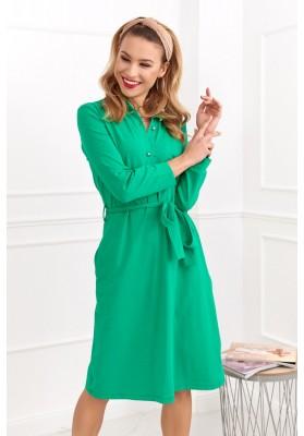 Bavlněné šaty s délkou nad kolena a dlouhým rukávem, zelené