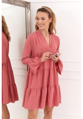Volné šaty s trojitým moderním límcem, růžové