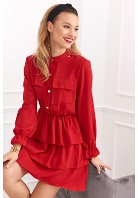 Krásné šaty s dlouhými rukávy, červené