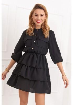 Krásné šaty s dlouhými rukávy, černé