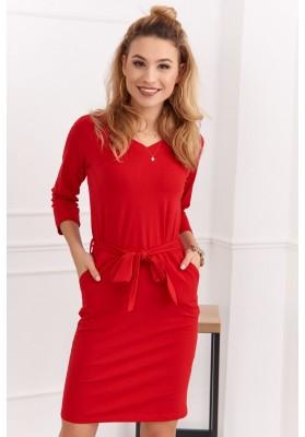 Bavlněné, pouzdrové šaty s výstřihem do V a 3/4 rukávy, červené