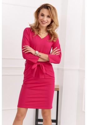 Bavlněné, pouzdrové šaty s výstřihem do V a 3/4 rukávy, růžové