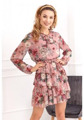 Jemné šaty s květinovými motivy, růžové