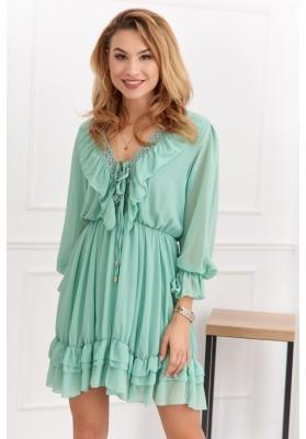 Jemné moderní šaty s výstřihem a jemnými volány, zelené