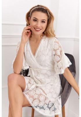 Elegantní, bílé, krajkové šaty s ¾ volánovým rukávem