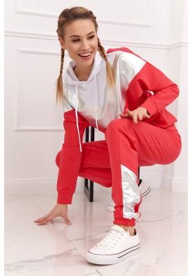 Dámská sportovní mikina a kalhoty se vsazenou aplikací, červená