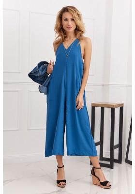 Letní overal s širokými 3/4 kalhotami v moderní barvě, modrý