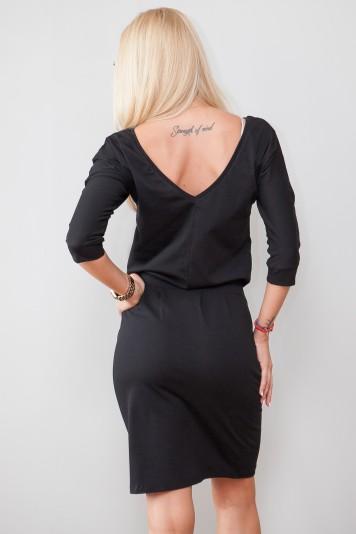 Sukienka MIDI wiązana w talii czarna 9729